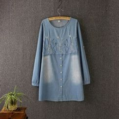 Blue Rose - Embroidered Long-Sleeve Denim Dress