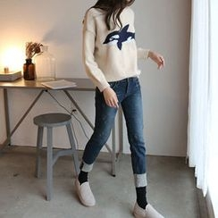 Hello sweety - Brushed Fleece Lined Straight-Cut Jeans