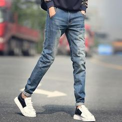 LIBIN - Washed Slim Fit Jeans