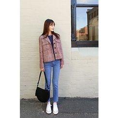 CHERRYKOKO - Dual-Pocket Tweed Blazer