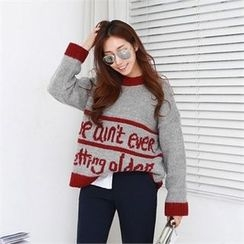 PIPPIN - Contrast-Trim Lettering Wool Blend Sweater