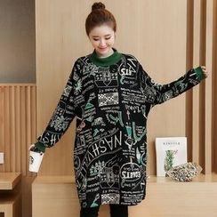 VIZZI - Printed Mock Neck Pullover Dress