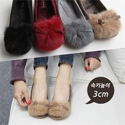 Reneve - Beribboned Faux-Fur Panel Hidden-Heel Flats