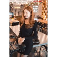 migunstyle - Lace-Sleeve Knit Minidress (2 Designs)
