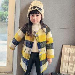 柠檬嘟嘟 - 儿童格纹单排扣大衣
