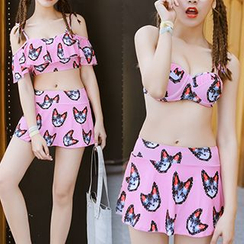 Sweet Splash - Set: Cat Print Bikini + Cold Shoulder Top
