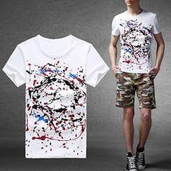 Evzen - Paint Splatter Print T-Shirt