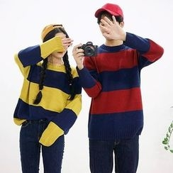 Seoul Homme - Couple Round-Neck Rugby-Stripe Sweater