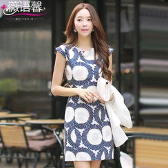 Rosesong - Short-Sleeve Embroidered Patterned Sheath Dress