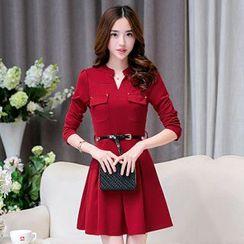 lilygirl - Long-Sleeve Tie Waist Knit Dress