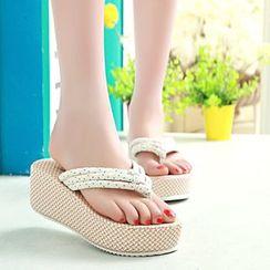 MANMANNI - Wedge Thong Mule Sandals
