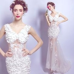 Angel Bridal - Flower-Accent Evening Gown
