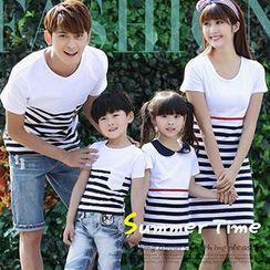 Igsoo - Parents and Kids Striped T-Shirt / T-Shirt Dress