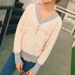 lilygirl - Contrast Trim V-Neck Sweater