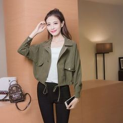 Honey Diary - Plain Cropped Notch Lapel Jacket