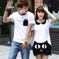 Igsoo - Couple Print T-Shirt / T-Shirt Dress