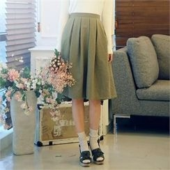 CHICLINE - Linen Flare Skirt
