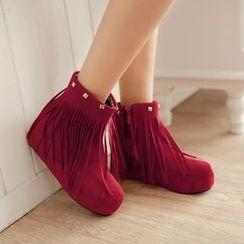 傾城 - 流蘇內增高短靴