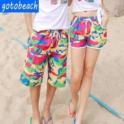 Sunset Hours - Camouflage Print Couple Swim Shorts