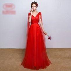 Amanecer - V-neck Mesh Wedding Dress