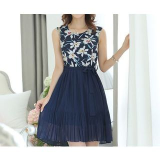 Merald - Sleeveless Floral Pleated Chiffon A-Line Dress