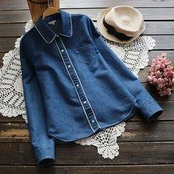 YOYO - 長袖配色邊牛仔布襯衫