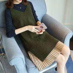 Shomez - Set: Long-Sleeve Pleated Hem Knit Dress + Long Knit Vest