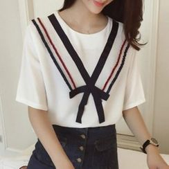 Shimi - Elbow-Sleeve Pleated Collar T-Shirt