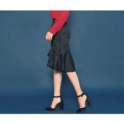 HOTPING - Ruffle-Hem Midi Skirt