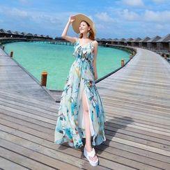 Miss Fox - Print Strap Chiffon Dress