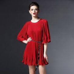 Elabo - Ruffle Hem Pleated Mini Dress