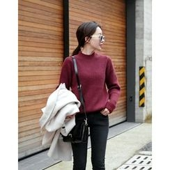 UPTOWNHOLIC - Mock-Neck Angora Wool Blend Knit Top