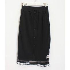 Momewear - Lettering Buttoned Long Skirt
