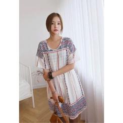 REDOPIN - Geometric Pattern Tassel Point Dress