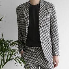 Seoul Homme - Gingham-Check Blazer
