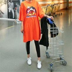 PINKSISLY - Mickey Mouse Print T-Shirt Dress