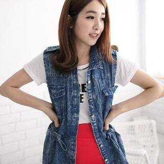 ZOO - Chiffon-Panel Denim Vest