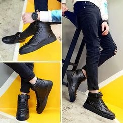 Gerbulan - Studded Lace Up High Top Sneakers