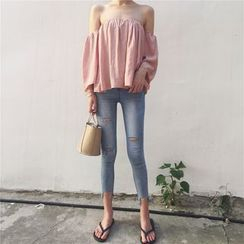 ALIN STYLE - Plain Off Shoulder 3/4 Sleeve Top