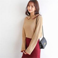Styleberry - Contrast-Trim Collar Wool Blend Knit Top