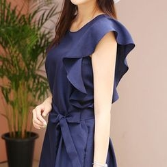 Envy Look - Frill-Sleeve Shift Dress with Sash