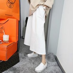 MARSHMALLOW - Banded-Waist Wide-Leg Cropped Pants