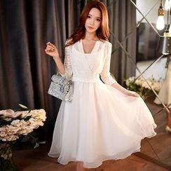 Dabuwawa - Lace-Panel A-Line Dress