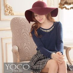 Tokyo Fashion - Long-Sleeve Beaded-Neckline Top