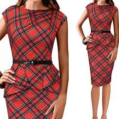 LIVA GIRL - Plaid Sheath Dress with Belt