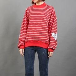 Momewear - Striped Applique Pullover