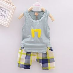 POMME - Kids Set: Number Tank Top + Plaid Shorts