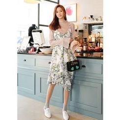 J-ANN - Spaghetti-Strap Ruffled-Detail Floral-Pattern Dress