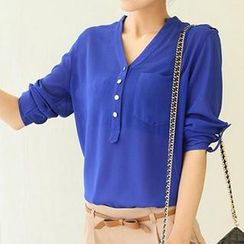 Neeya - Long-Sleeve V-Neck Chiffon Blouse