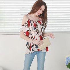 Tokyo Fashion - Off-Shoulder Floral Top